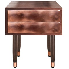 Mid-Century Modern Eldfell Bedside Table in Walnut, Copper