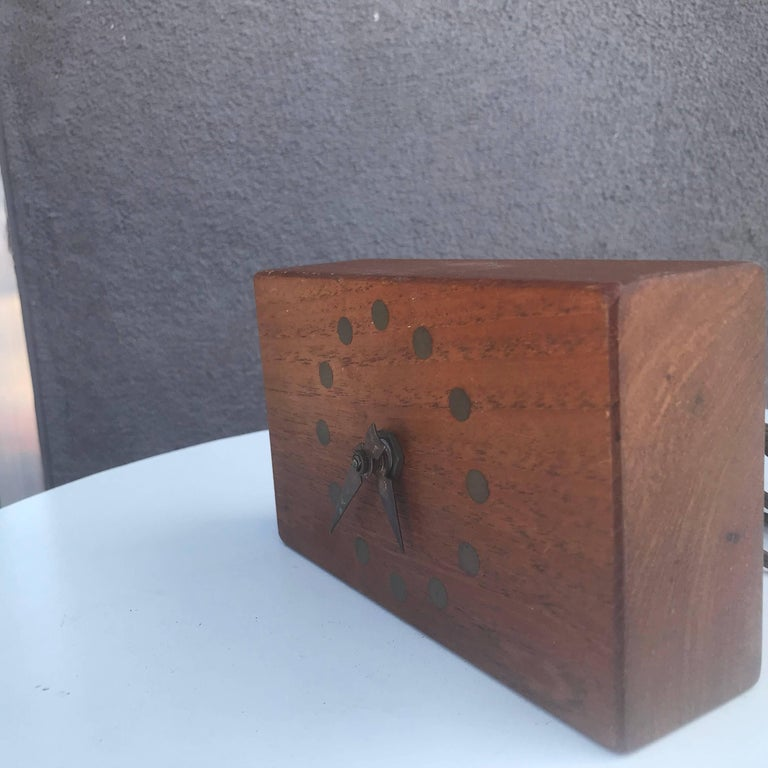 Mid Century Modern Electric Table Clock Teak And Brass