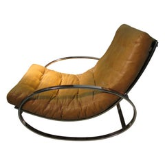Mid-Century Modern Ellipse Chrome Rocking Chair by Renato Zevi
