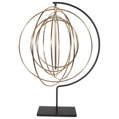 Midcentury Modern Elliptical Kinetic Sculpture in Brass and Black Enamel