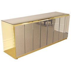 Mid-Century Modern Ello Smoked Mirror and Brass 4-Door Credenza, 1970s