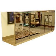 Mid-Century Modern Ello Smoked Mirror and Brass Credenza Cabinet, 1970s