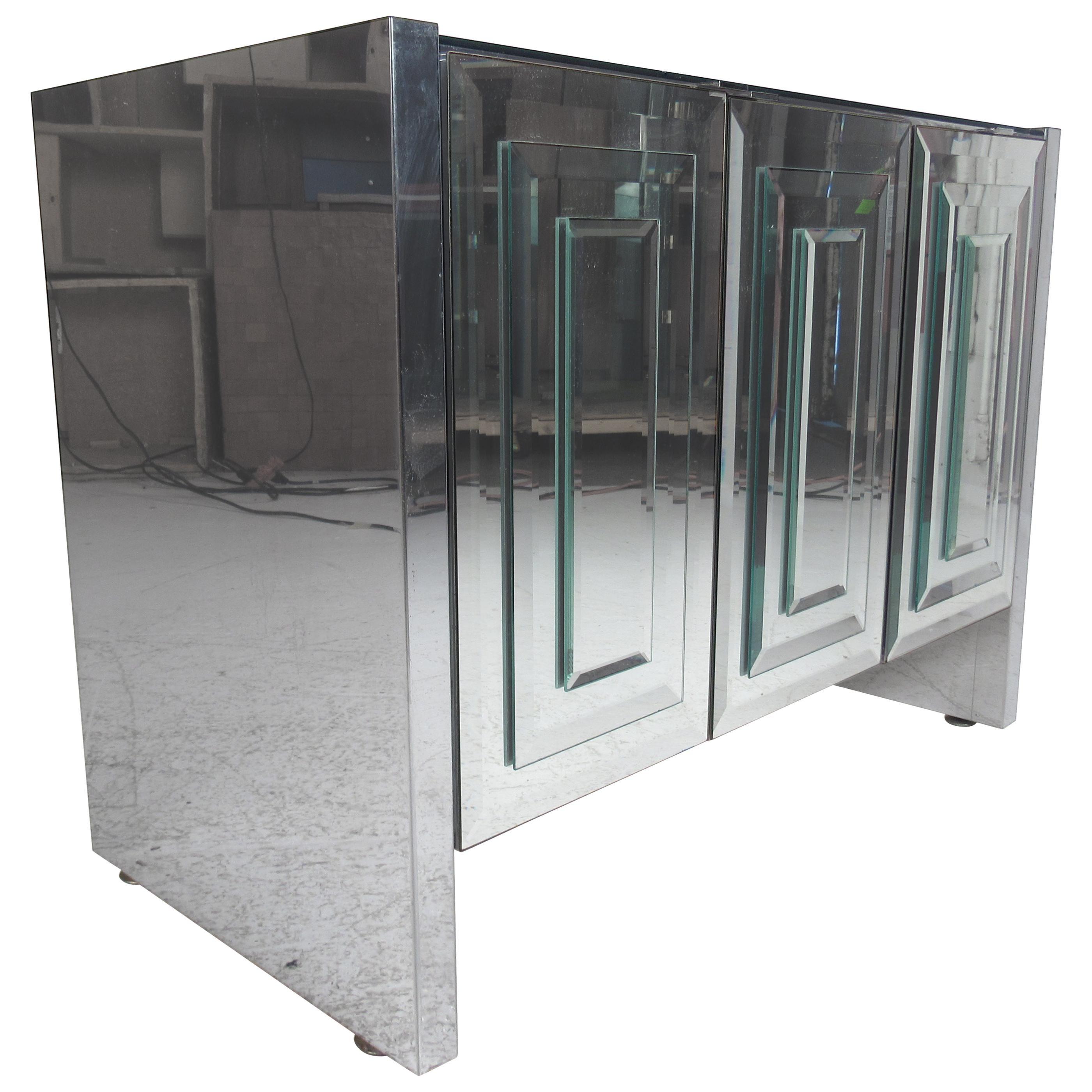 Mid-Century Modern Ello Three-Door Mirrored Cabinet