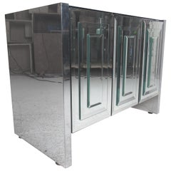 Mid-Century Modern Ello Three-Door Mirrored Cabinet