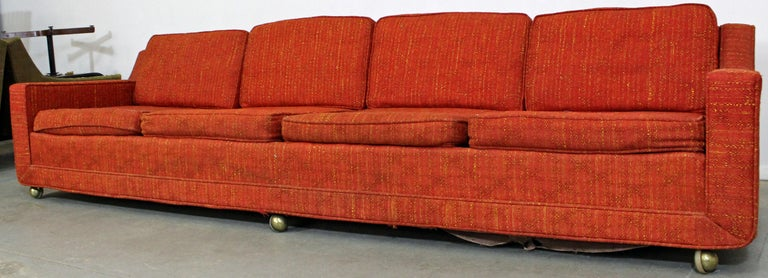 Mid Century Modern Elongated Sofa On Wheels By Kroehler For Sale At
