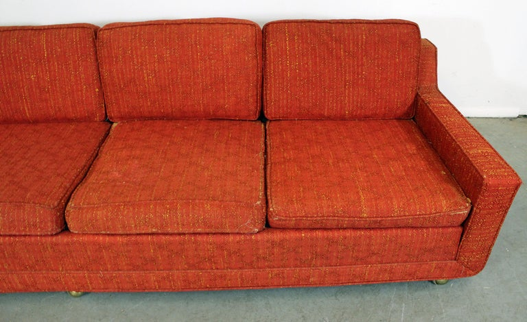 Mid Century Modern Elongated Sofa On Wheels By Kroehler