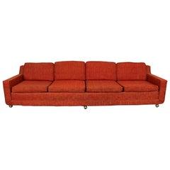Mid-Century Modern Elongated Sofa on Wheels by Kroehler