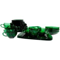 Mid-Century Modern Emerald Green Glass Dishware Serving Set