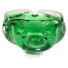 Mid-Century Modern Emerald Handblown Murano Glass Decorative Bowl