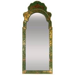 Mid Century Modern Emerald Reverse Églomisé Mirror with Gilt Detailing