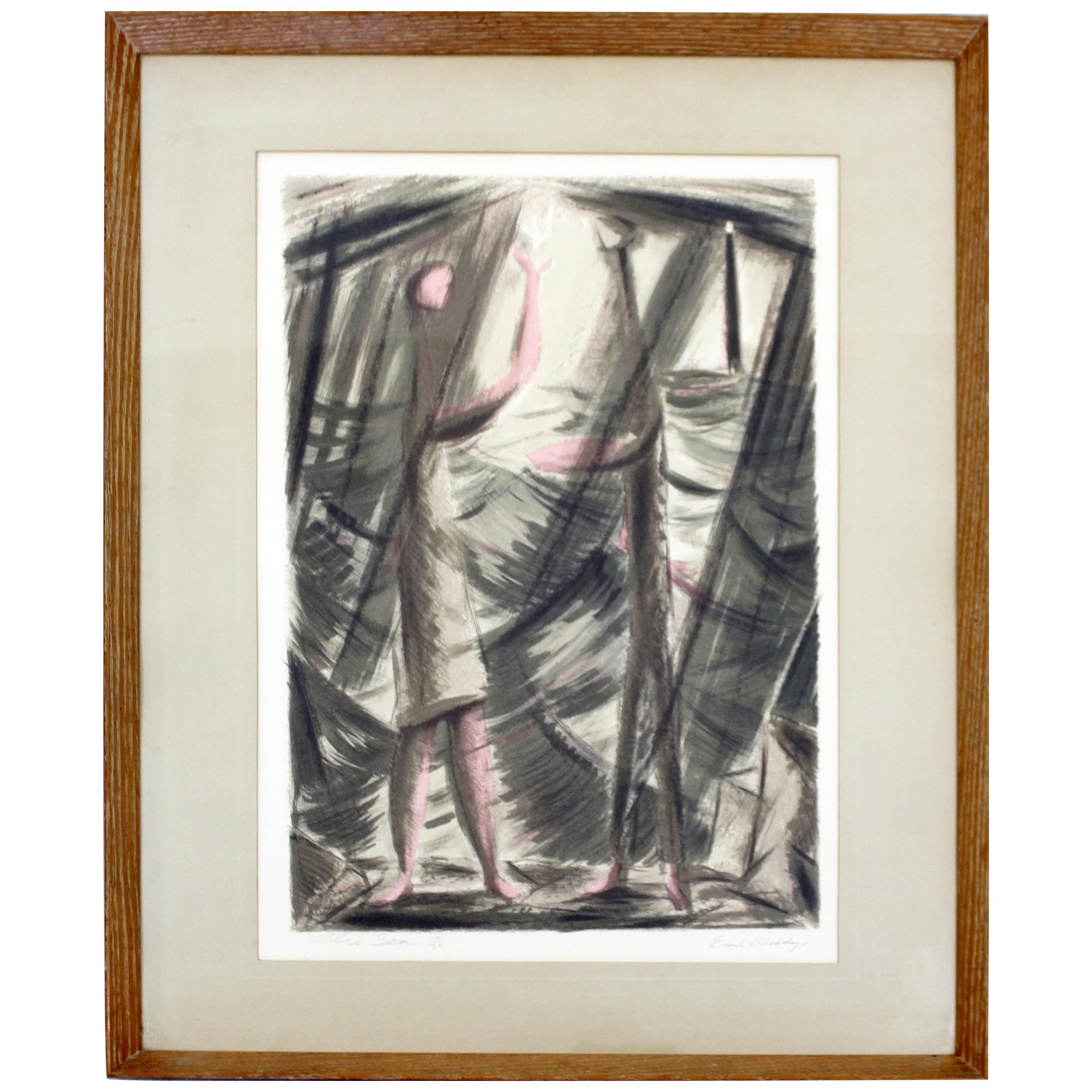 Mid-Century Modern Emil Weddige Framed Signed Lithograph Blue Sea 14/25