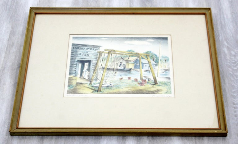 Mid-Century Modern Emil Weddige Framed Signed Lithograph Fish Shanties In Good Condition For Sale In Keego Harbor, MI