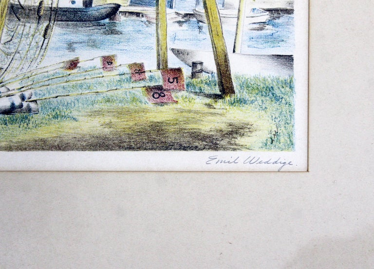 Paper Mid-Century Modern Emil Weddige Framed Signed Lithograph Fish Shanties For Sale