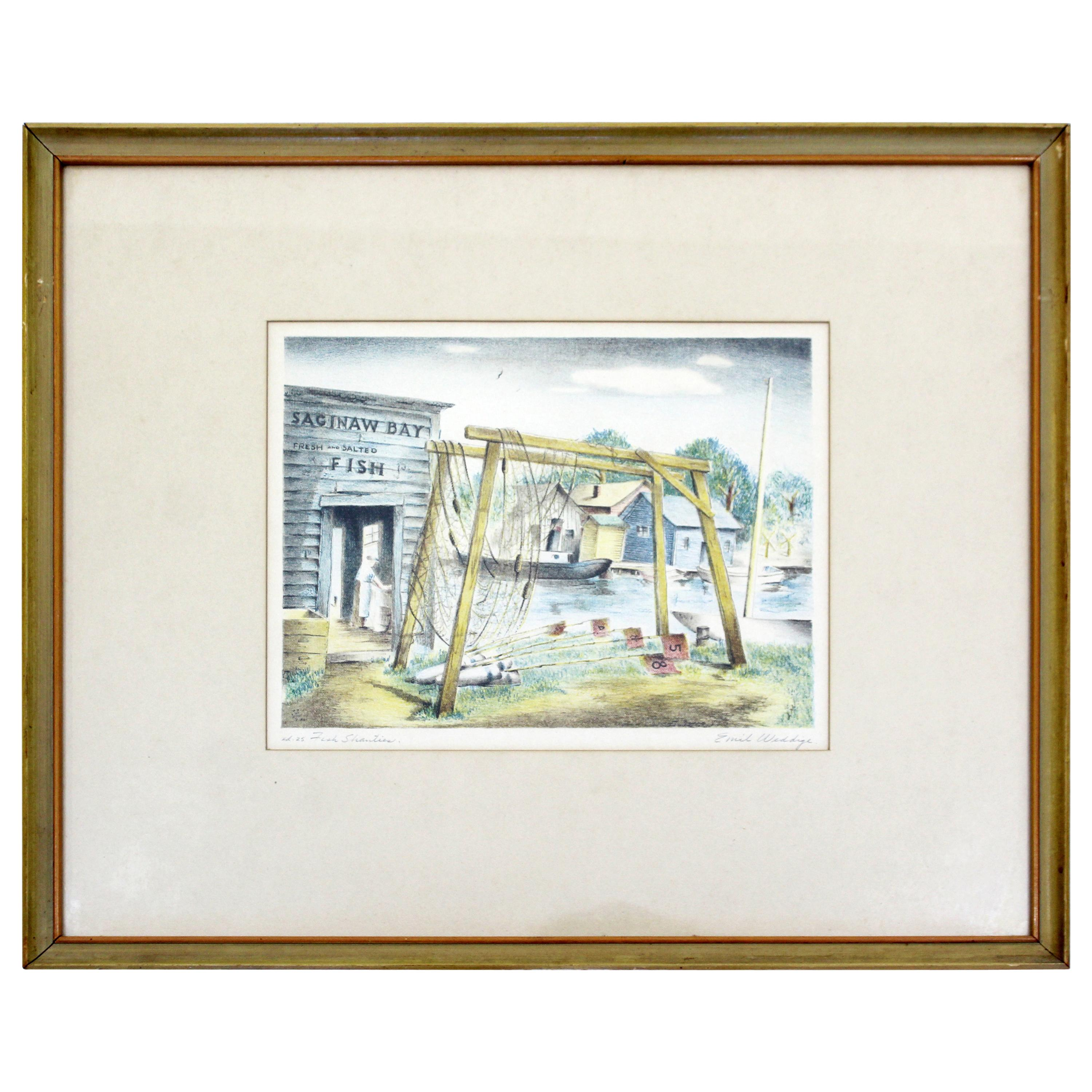Mid-Century Modern Emil Weddige Framed Signed Lithograph Fish Shanties
