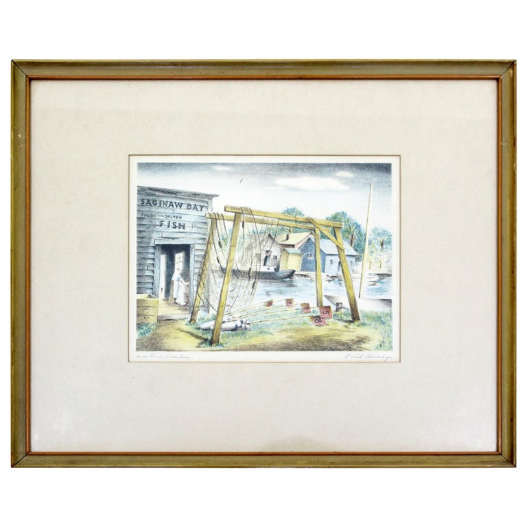 Mid-Century Modern Emil Weddige Framed Signed Lithograph Fish Shanties For Sale