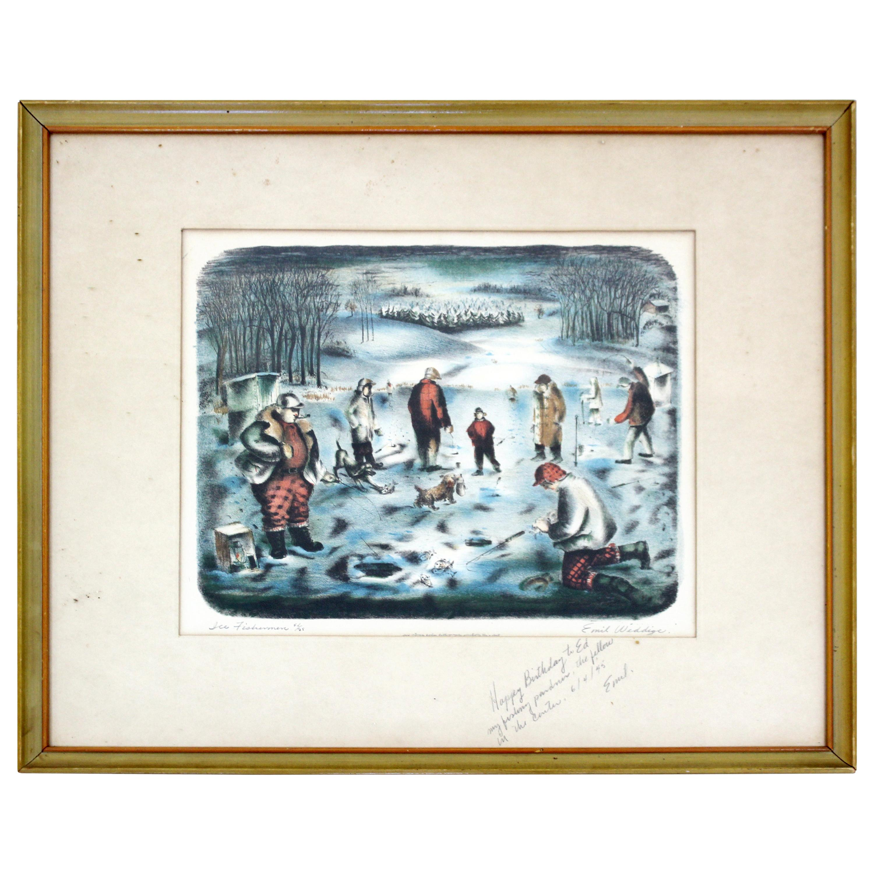 Mid-Century Modern Emil Weddige Framed Signed Lithograph Ice Fisherman