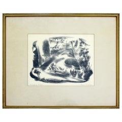 Mid-Century Modern Emil Weddige Framed Signed Lithograph Swinging Bridge