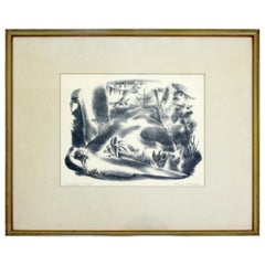 Mid-Century Modern Emil Weddige Framed Signed Lithograph Swinging Bridge