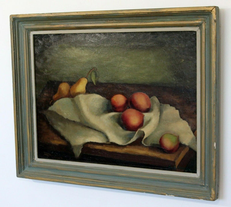 Mid-Century Modern Emil Weddige Framed Signed Oil Painting Still Life In Good Condition For Sale In Keego Harbor, MI