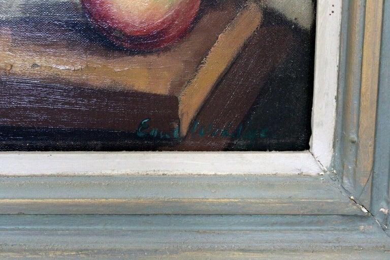 Mid-Century Modern Emil Weddige Framed Signed Oil Painting Still Life For Sale 1