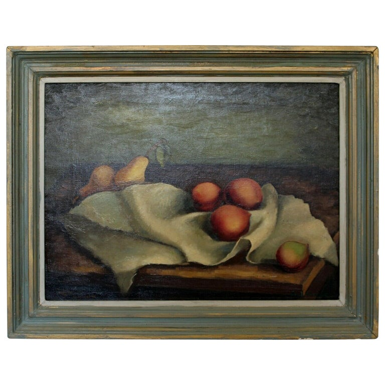 Mid-Century Modern Emil Weddige Framed Signed Oil Painting Still Life For Sale