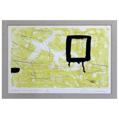Mid Century Modern Emil Weddige Unframed Lithograph Heiroglyphics