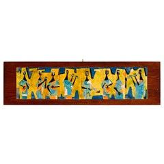Mid-Century Modern Enamel Six Brass Panel Painting