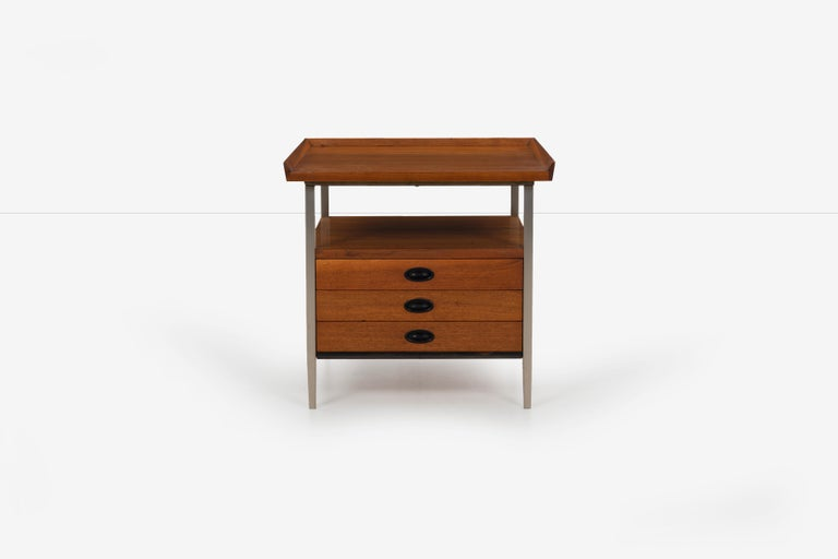 Mid-Century Modern end table Finn Juhl style, great for home or office, walnut wood oiled with 3 drawers, plastic finger pulls, solid wood top 3 sided Lip edge and matte steel frame.
