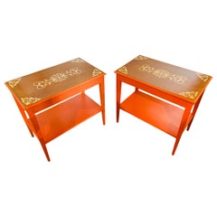 Mid-Century Modern End Table, Night, Lamp, or Side Table, Painted, a Pair