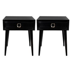 Mid-Century Modern End Tables/ Nightstands with Circular Nickeled Pulls