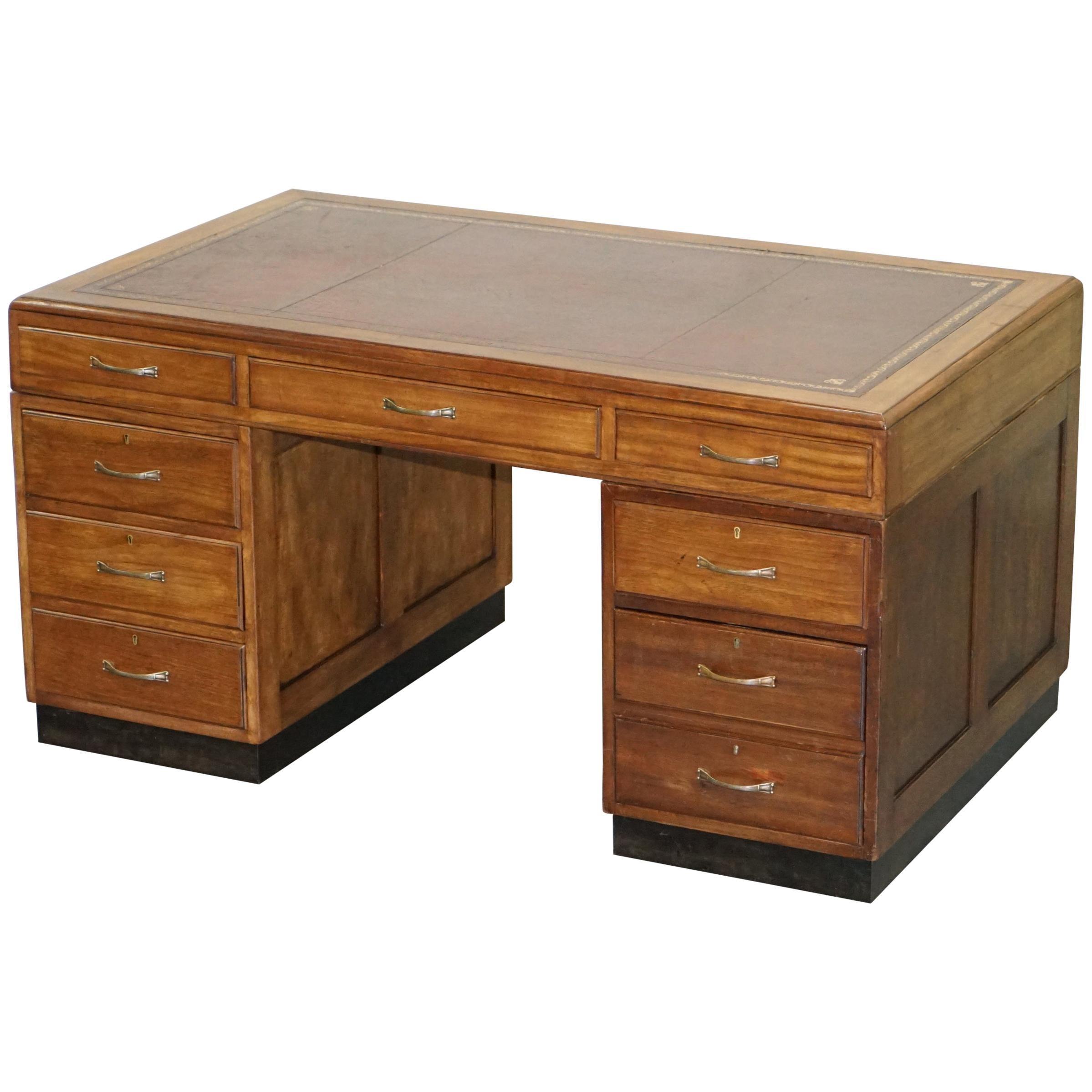 Mid-Century Modern English Oak Double Sided Partner Writing Desk Oxblood Leather