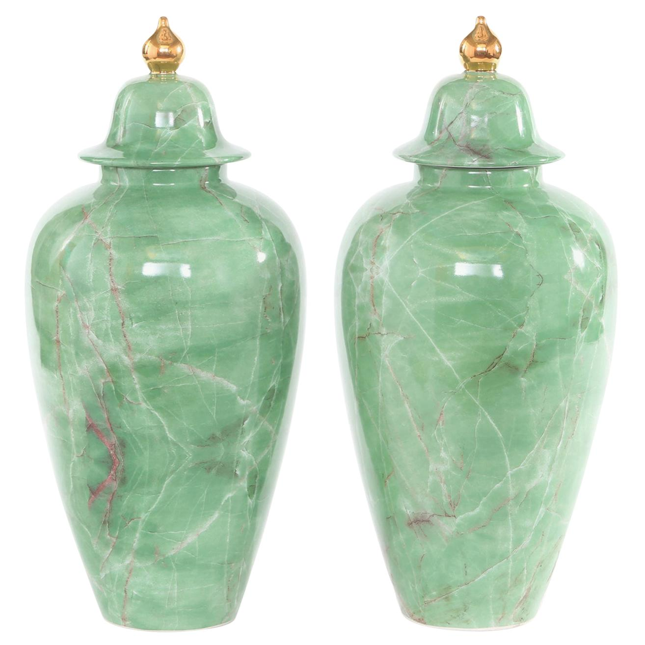 Mid-Century Modern English Porcelain Covered Urns