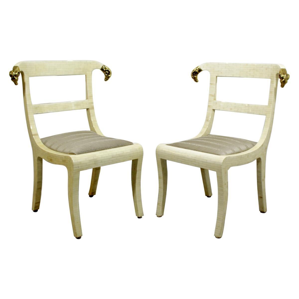 Mid-Century Modern Enrique Garcel Tessellated Stone Brass Rams Head Chairs, Pair