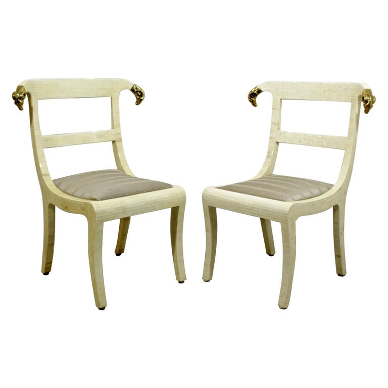 Mid-Century Modern Enrique Garcel Tessellated Stone Brass Rams Head Chairs, Pair For Sale
