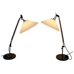 Mid-Century Modern Enzo Mari Adjustable Table Lamps Aggregato Italy, 1970s, Pair