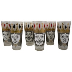 Mid-Century Modern Era Barware Card Suit Frosted Collins Glasses, Set of 6