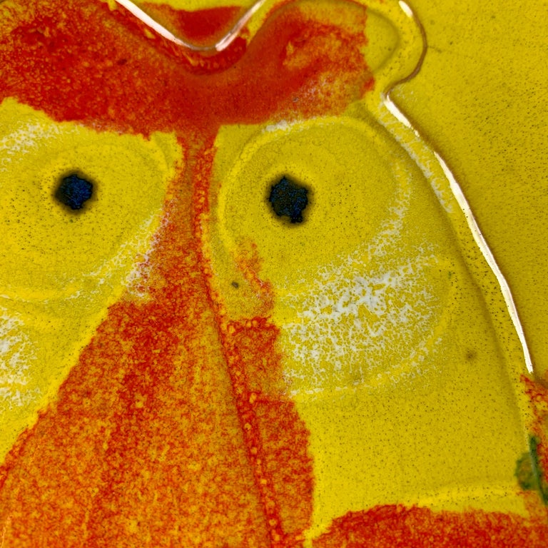 Glazed Mid-Century Modern Era Bennett Walsh Pacific Stoneware Yellow Tiger Ashtray For Sale