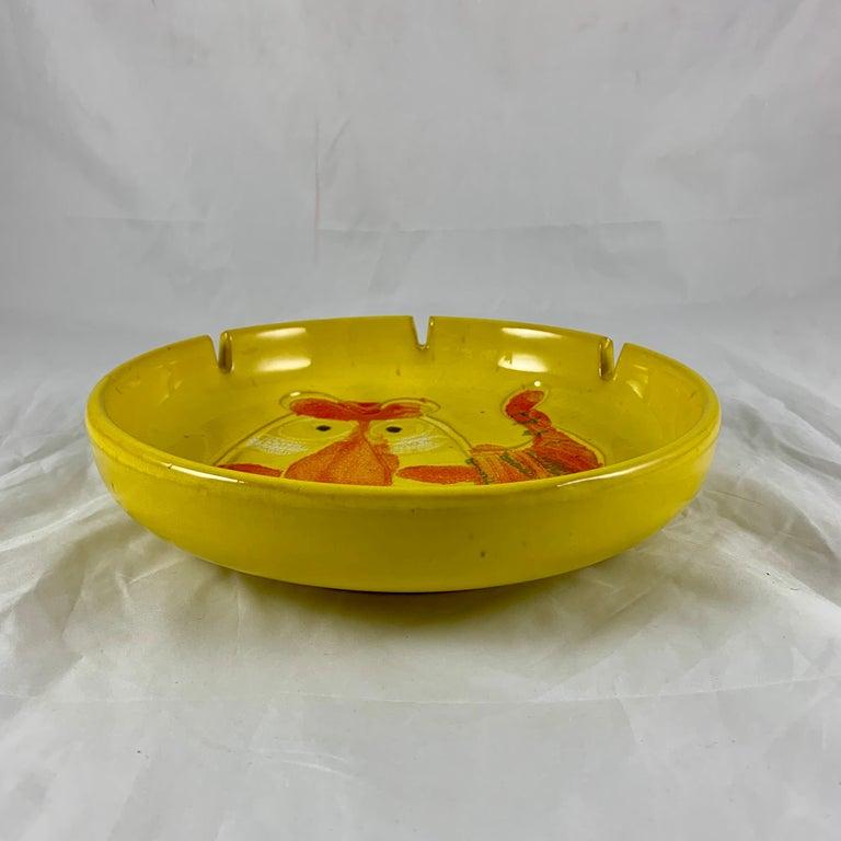 20th Century Mid-Century Modern Era Bennett Walsh Pacific Stoneware Yellow Tiger Ashtray For Sale