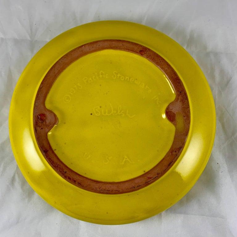 Mid-Century Modern Era Bennett Walsh Pacific Stoneware Yellow Tiger Ashtray For Sale 1