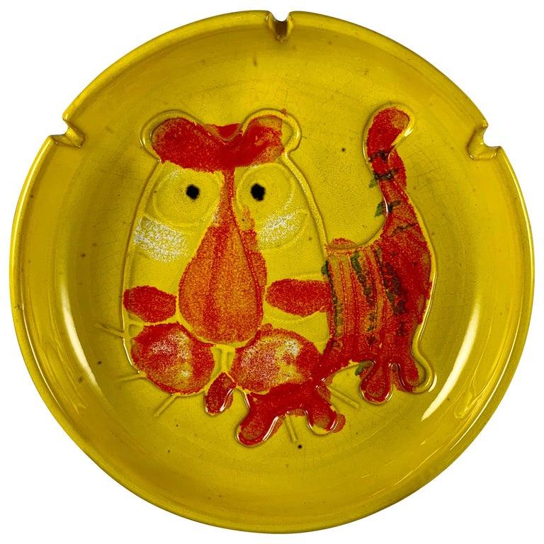 Mid-Century Modern Era Bennett Walsh Pacific Stoneware Yellow Tiger Ashtray For Sale