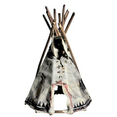 Mid-Century Modern Era Indigenous American Miniature Souvenir or Toy Teepee