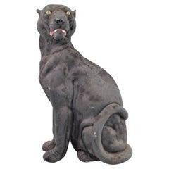 Mid-Century Modern Era Large Cast Plaster Seated Black Panther Sculpture