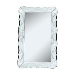Mid-Century Modern Etched and Beveled Scalloped Venetian Wall Mirror