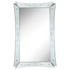 Mid-Century Modern Etched and Beveled Venetian Mirror with Dovetailed Corners