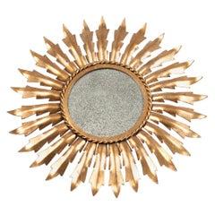 Mid-Century Modern European Sunburst Wall Mirror in Gilt Metal