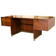 Mid-Century Modern Executive Cantilever Desk Walnut & Brass by Myrtle Desk, 1960