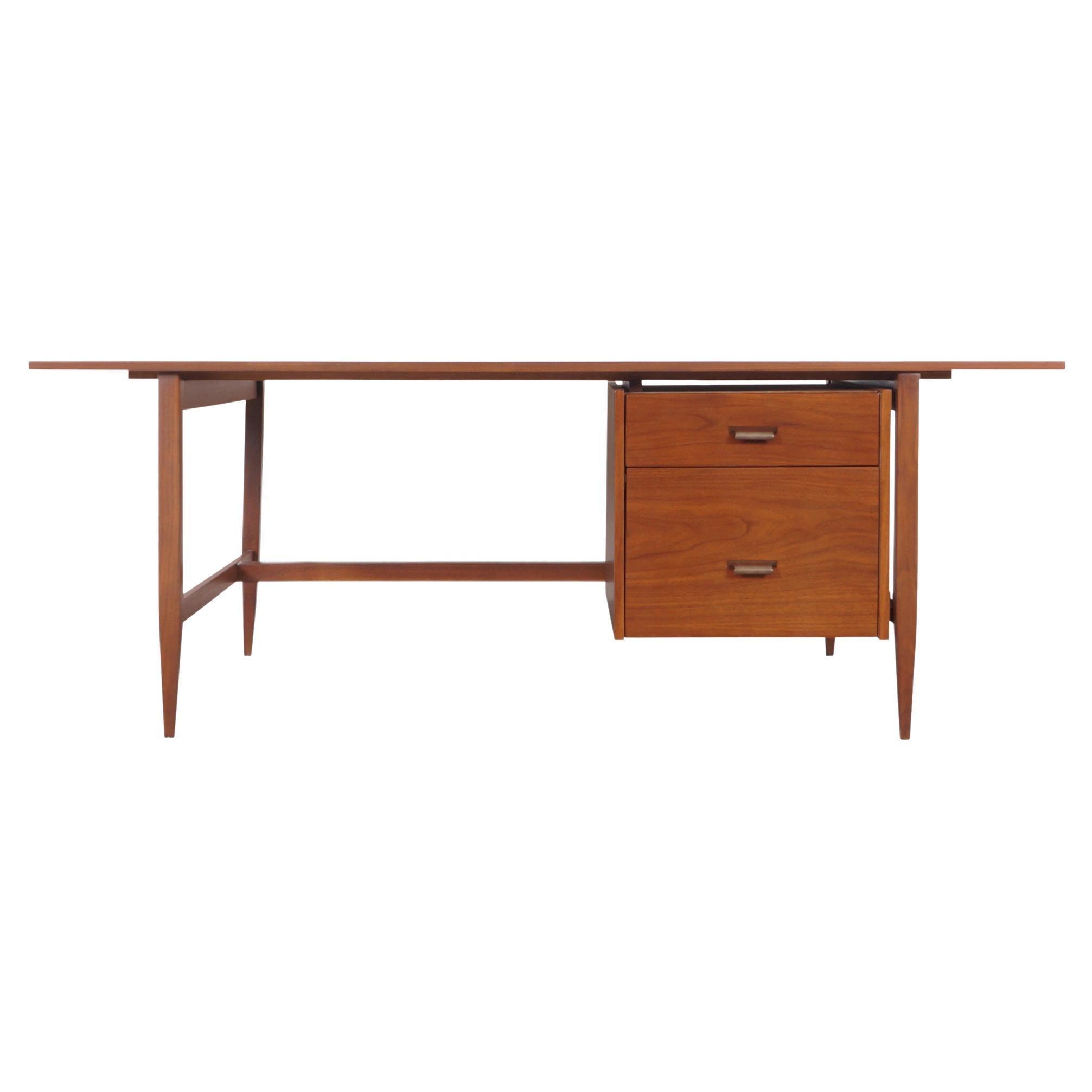 Mid-Century Modern Executive Walnut Desk
