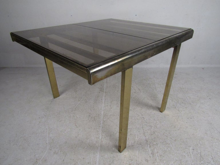 Mid-Century Modern Expanding Brass Dining Table with a Smoked Glass Top For Sale 5