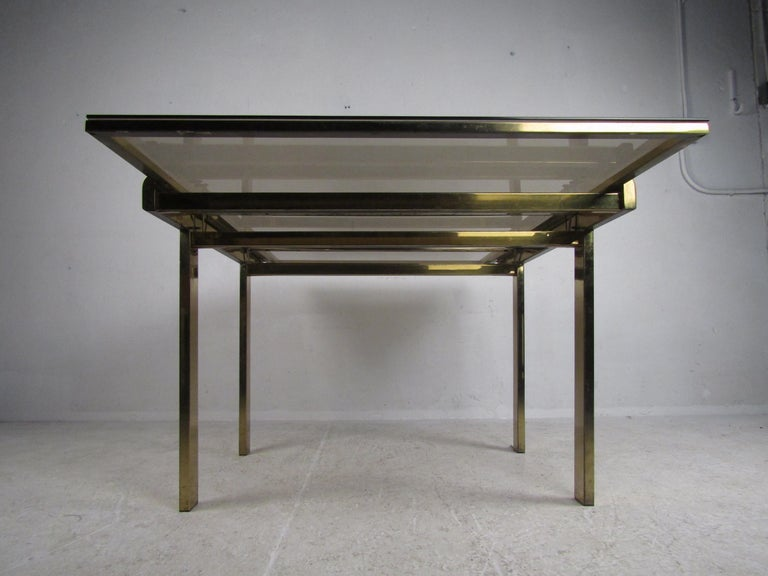 Mid-Century Modern Expanding Brass Dining Table with a Smoked Glass Top For Sale 6