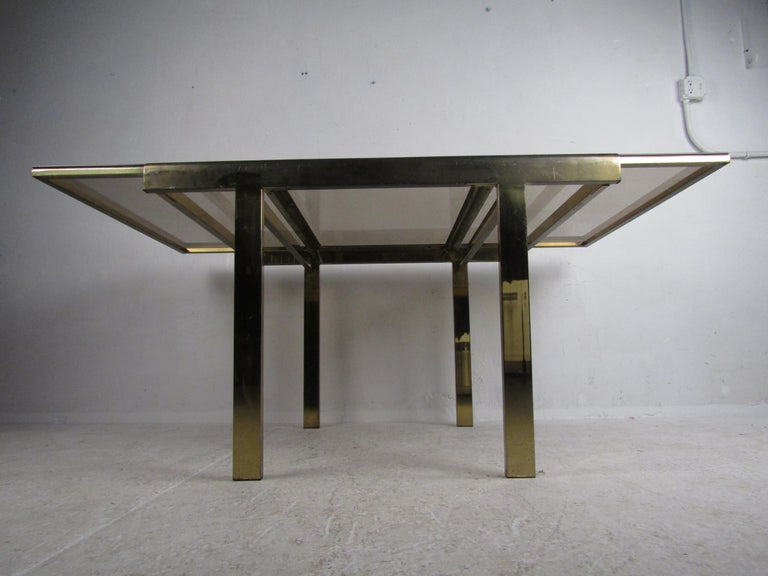 Mid-Century Modern Expanding Brass Dining Table with a Smoked Glass Top For Sale 7